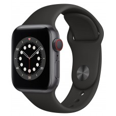 Apple Watch Series 6 GPS+LTE 40mm Space Gray Aluminium Case with Black Sport Band (M02Q3)